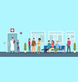 hospital queue clinic reception waiting room vector image