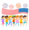 kids with the american flag vector image