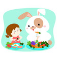 little cute girl eating vegetable with fluffy vector image vector image