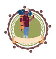 man backpacker african american travel vector image
