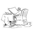 man reading newspaper breakfast vintage engraving vector image vector image