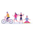 people exercising at park icon vector image vector image