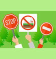 protest against industrial pollution environment vector image