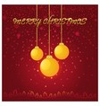 Red Christmas background with a yellow glass ball vector image