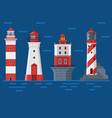 red lighthouses on sea background vector image