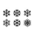 rounded snowflakes silhouettes black template set vector image vector image