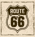 route 66 road vintage sign with bullet holes vector image