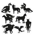set black silhouette animal greek mythological vector image vector image
