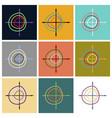 set of flat icons on stylish background chart vector image
