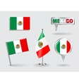 Set of Mexican pin icon and map pointer flags vector image vector image