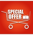 Special offer sale banner Shopping cart on red vector image vector image