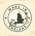 Stamp with map of England vector image vector image