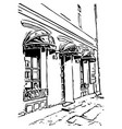 street cafe in digital sketch style vector image