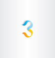 stylized logo number 3 three third icon vector image vector image