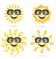 sun cartoon with sunglasses two vector image vector image