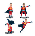 superhero actions cartoon character set vector image
