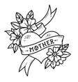tattoo heart with ribbonflowers and word mother vector image