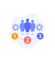 team management icon with gears vector image vector image