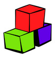 three colored cubes icon icon cartoon vector image vector image