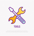 tools crossed wrench and screwdriver line icon vector image