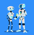 two robots in love are on date with glasses of vector image