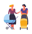 women mothers with prams and babies walking vector image vector image
