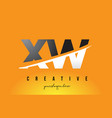 xw x w letter modern logo design with yellow vector image vector image