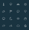 air icons line style set with moonshine vector image