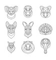 australian animals outline coloring set vector image