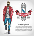 barbershop flyer with pole ribbon fashion man vector image vector image