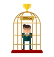 Businessman office work as the birdcase vector image