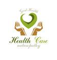 caring hands holding heart alternative medicine vector image