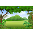 Cartoon of beautiful natural landscape vector image vector image