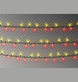 christmas yellow red lights string transparent ef vector image vector image