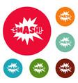 comic boom smash icons circle set vector image vector image