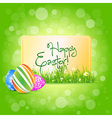 Easter Card with Grass and Decorated Eggs vector image vector image