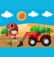 farm scene with boy raking leaves on the ground vector image vector image