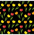 Floral Seamless Pattern Background with Tulips vector image