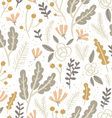 Flowers leaves and berries pastel seamless pattern vector image vector image