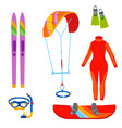 fun water extreme sport kiteboarding surfer vector image vector image