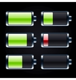 Glossy battery icons set vector image vector image