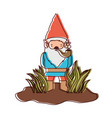 gnome without face coming out of the bushes with vector image