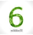Grunge Number 6 vector image vector image