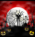 halloween background with zombie and pumpkins vector image