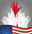 Hands and american flag vector image vector image