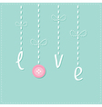 Hanging rain button drops Dash line Love card Flat vector image vector image