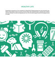 healthy life concept background in flat style vector image
