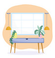 home room furniture table with plants and hanging vector image vector image