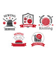 icons of sewing knitting needlework service vector image vector image