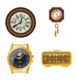 isolated object of clock and time logo collection vector image